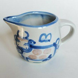 Vintage M. A. Hadley Country Blue Cow Creamer